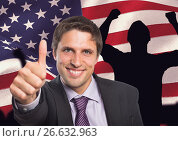 Купить «Business man with thumbs up against american flag», фото № 26632963, снято 16 ноября 2018 г. (c) Wavebreak Media / Фотобанк Лори