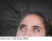 Купить «Top of womans head looking at downward 3D arrows against grey wall», фото № 26632983, снято 10 апреля 2020 г. (c) Wavebreak Media / Фотобанк Лори