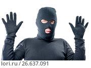 Купить «male robber held up his hands, in black clothes», фото № 26637091, снято 1 октября 2016 г. (c) Константин Лабунский / Фотобанк Лори