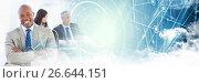 Купить «Business man arms folded with blue smart tech and clouds transition», фото № 26644151, снято 27 марта 2019 г. (c) Wavebreak Media / Фотобанк Лори