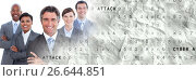 Купить «Business team smiling arms folded with grey smart tech transition», фото № 26644851, снято 27 марта 2019 г. (c) Wavebreak Media / Фотобанк Лори