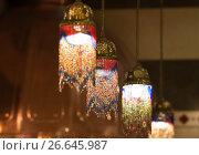 Купить «Светильник в восточном стиле, украшенный бисером», фото № 26645987, снято 30 июня 2012 г. (c) Алёшина Оксана / Фотобанк Лори