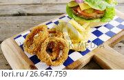 Купить «Hamburger, onion ring and french fries on chopping board», видеоролик № 26647759, снято 24 января 2020 г. (c) Wavebreak Media / Фотобанк Лори
