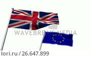 Union flag and European flag waving against white background. Стоковое видео, агентство Wavebreak Media / Фотобанк Лори