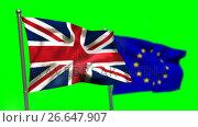 Union flag and European flag waving against green screen. Стоковое видео, агентство Wavebreak Media / Фотобанк Лори