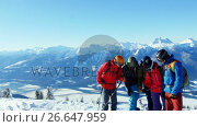 Купить «Skiers with ski interacting on snowy landscape», видеоролик № 26647959, снято 24 января 2020 г. (c) Wavebreak Media / Фотобанк Лори