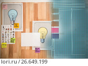 Composite 3d image of light bulb charts attached on wooden wall. Стоковое фото, агентство Wavebreak Media / Фотобанк Лори