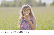 Купить «A young little girl beautifully turns on a warm sunny afternoon with ice cream in the hands against the background of a wheat field», видеоролик № 26649335, снято 9 июля 2017 г. (c) Mikhail Davidovich / Фотобанк Лори