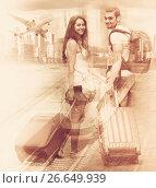 Купить «Traveling options for couples», фото № 26649939, снято 11 июня 2014 г. (c) Яков Филимонов / Фотобанк Лори