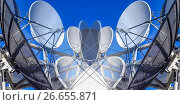 Купить «Спутниковая антенна на фоне синего неба . Коллаж .», фото № 26655871, снято 22 января 2014 г. (c) Сергеев Валерий / Фотобанк Лори