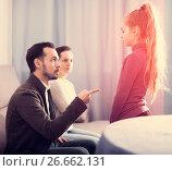 Купить «Parents lecturing daughter», фото № 26662131, снято 19 марта 2019 г. (c) Яков Филимонов / Фотобанк Лори
