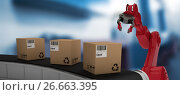 Купить «Composite image of brown cardboard boxes on 3d production line», фото № 26663395, снято 17 июня 2019 г. (c) Wavebreak Media / Фотобанк Лори