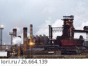 Купить «Blast furnace, iron production, metallurgical production.», фото № 26664139, снято 16 июня 2017 г. (c) Андрей Радченко / Фотобанк Лори
