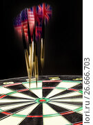 Купить «Darts On A Black», фото № 26666703, снято 18 июля 2017 г. (c) Андрей Скат / Фотобанк Лори