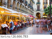 Купить «Tourists at Royal square in Barcelona, Spain», фото № 26666783, снято 18 июля 2016 г. (c) Яков Филимонов / Фотобанк Лори