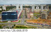 Купить «Building residential quarter», фото № 26666819, снято 3 сентября 2016 г. (c) Яков Филимонов / Фотобанк Лори