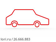 Купить «silhouette red car on white background. Isolated 3D illustration», иллюстрация № 26666883 (c) Ильин Сергей / Фотобанк Лори