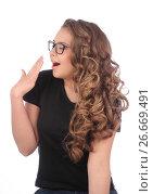 Купить «young woman with glasses yawns on white», фото № 26669491, снято 5 мая 2013 г. (c) Tatjana Romanova / Фотобанк Лори