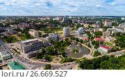 Купить «Lipetsk, Russia - July 11. 2017. View from the top of Revolution Square and Komsomolsky Pond», фото № 26669527, снято 11 июля 2017 г. (c) Володина Ольга / Фотобанк Лори
