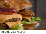 Купить «Close-up of hamburgers», фото № 26673243, снято 13 января 2017 г. (c) Wavebreak Media / Фотобанк Лори