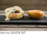 Купить «Vegetable and sauce with buns on slate», фото № 26674167, снято 13 января 2017 г. (c) Wavebreak Media / Фотобанк Лори