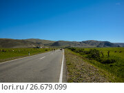 Road among the steppe and hills. Стоковое фото, фотограф Konstantin Shabalin / Фотобанк Лори
