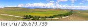 Купить «Panoramic view of the highland valley with the road», фото № 26679739, снято 14 декабря 2018 г. (c) Mikhail Starodubov / Фотобанк Лори