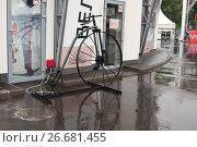 """Купить «Парк """"Сокольники"""". Старинный велосипед перед входом в веломузей», фото № 26681455, снято 8 июля 2017 г. (c) Наталья Николаева / Фотобанк Лори"""