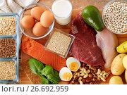 Купить «natural protein food on table», фото № 26692959, снято 14 мая 2015 г. (c) Syda Productions / Фотобанк Лори