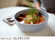 Купить «seafood soup with fish and blue mussels in bowl», фото № 26693039, снято 16 января 2017 г. (c) Syda Productions / Фотобанк Лори