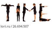 Купить «Black dressed people forming TIME word», фото № 26694507, снято 30 июля 2012 г. (c) Tatjana Romanova / Фотобанк Лори