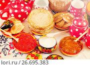 Купить «Maslenitsa festival meal», фото № 26695383, снято 6 марта 2011 г. (c) Яков Филимонов / Фотобанк Лори