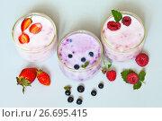 Купить «Домашний ягодный йогурт с клубникой, черникой и малиной в стаканчиках на светлом столе», фото № 26695415, снято 20 июля 2017 г. (c) Виктория Катьянова / Фотобанк Лори