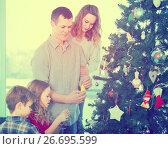 Купить «Family members preparing for Christmas», фото № 26695599, снято 16 августа 2018 г. (c) Яков Филимонов / Фотобанк Лори