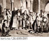 Купить «Charlemagne and the oath of purgation of Pope Saint Leo III, accused of adultery and perjury, Rome, on 23 December 800.», фото № 26699091, снято 20 июня 2017 г. (c) age Fotostock / Фотобанк Лори