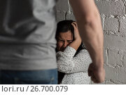 Купить «unhappy woman suffering from domestic violence», фото № 26700079, снято 20 января 2017 г. (c) Syda Productions / Фотобанк Лори
