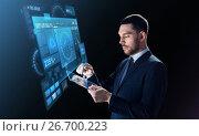 Купить «businessman in suit with transparent tablet pc», фото № 26700223, снято 9 марта 2017 г. (c) Syda Productions / Фотобанк Лори