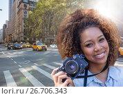 Купить «Close up of millennial woman taking selfie against street with flare», фото № 26706343, снято 2 апреля 2020 г. (c) Wavebreak Media / Фотобанк Лори