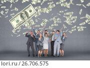 Купить «Happy business people with money rain against grey background», фото № 26706575, снято 23 января 2019 г. (c) Wavebreak Media / Фотобанк Лори
