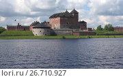 Купить «Вид на крепость Хамеенлинна крупным планом с озера Ванаявеси. Финляндия», видеоролик № 26710927, снято 10 июня 2017 г. (c) Виктор Карасев / Фотобанк Лори