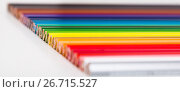 Купить «colored pencils lying in row», фото № 26715527, снято 11 января 2017 г. (c) Татьяна Яцевич / Фотобанк Лори