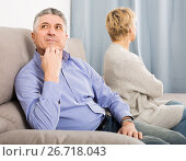 Купить «disappointed mature couple quarreling at home with each other», фото № 26718043, снято 6 апреля 2020 г. (c) Яков Филимонов / Фотобанк Лори