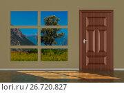 Купить «closed door in hall. 3D illustration», иллюстрация № 26720827 (c) Ильин Сергей / Фотобанк Лори