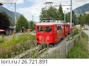 Купить «Chamonix, France - JUL 11, 2017: Montenvers train - Mer de Glace in summer time», фото № 26721891, снято 11 июля 2017 г. (c) Юлия Кузнецова / Фотобанк Лори