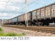 Товарный поезд (2017 год). Редакционное фото, фотограф Александр Щепин / Фотобанк Лори