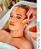Купить «Collagen face mask . Facial skin treatment. Woman receiving cosmetic procedure.», фото № 26724855, снято 19 марта 2017 г. (c) Gennadiy Poznyakov / Фотобанк Лори