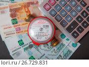 Купить «Водосчетчик, калькулятор и деньги. Вид сверху», эксклюзивное фото № 26729831, снято 16 июля 2017 г. (c) Иван Карпов / Фотобанк Лори