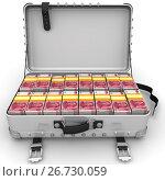 Купить «Чемодан заполненный пачками китайских банкнот (юань)», иллюстрация № 26730059 (c) WalDeMarus / Фотобанк Лори