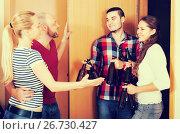 Купить «Friends gathering together at party», фото № 26730427, снято 19 февраля 2019 г. (c) Яков Филимонов / Фотобанк Лори
