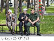 Купить «Преемственность поколений. Ветераны в парке на скамейке», фото № 26731183, снято 2 августа 2017 г. (c) Иван Карпов / Фотобанк Лори